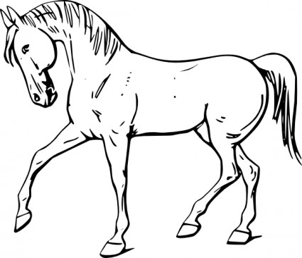 Walking horse outline clip art free vector in open office drawing