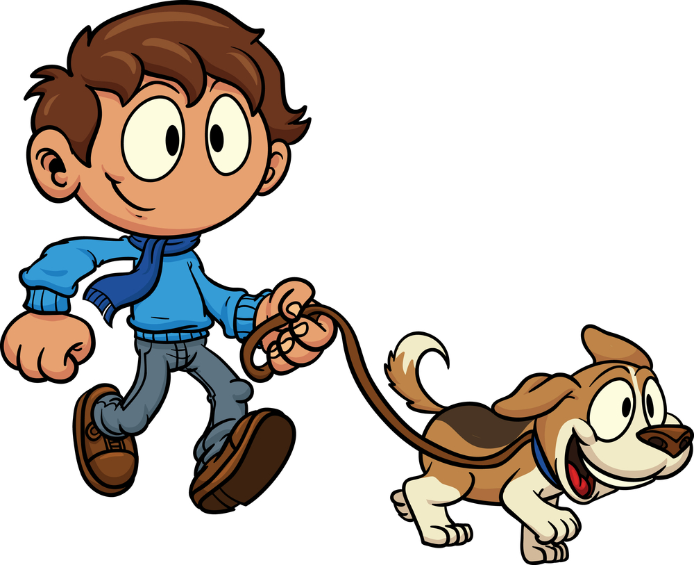 Walking The Dog. Girl Walking Dog Clipar-Walking The Dog. Girl Walking Dog Clipart-1