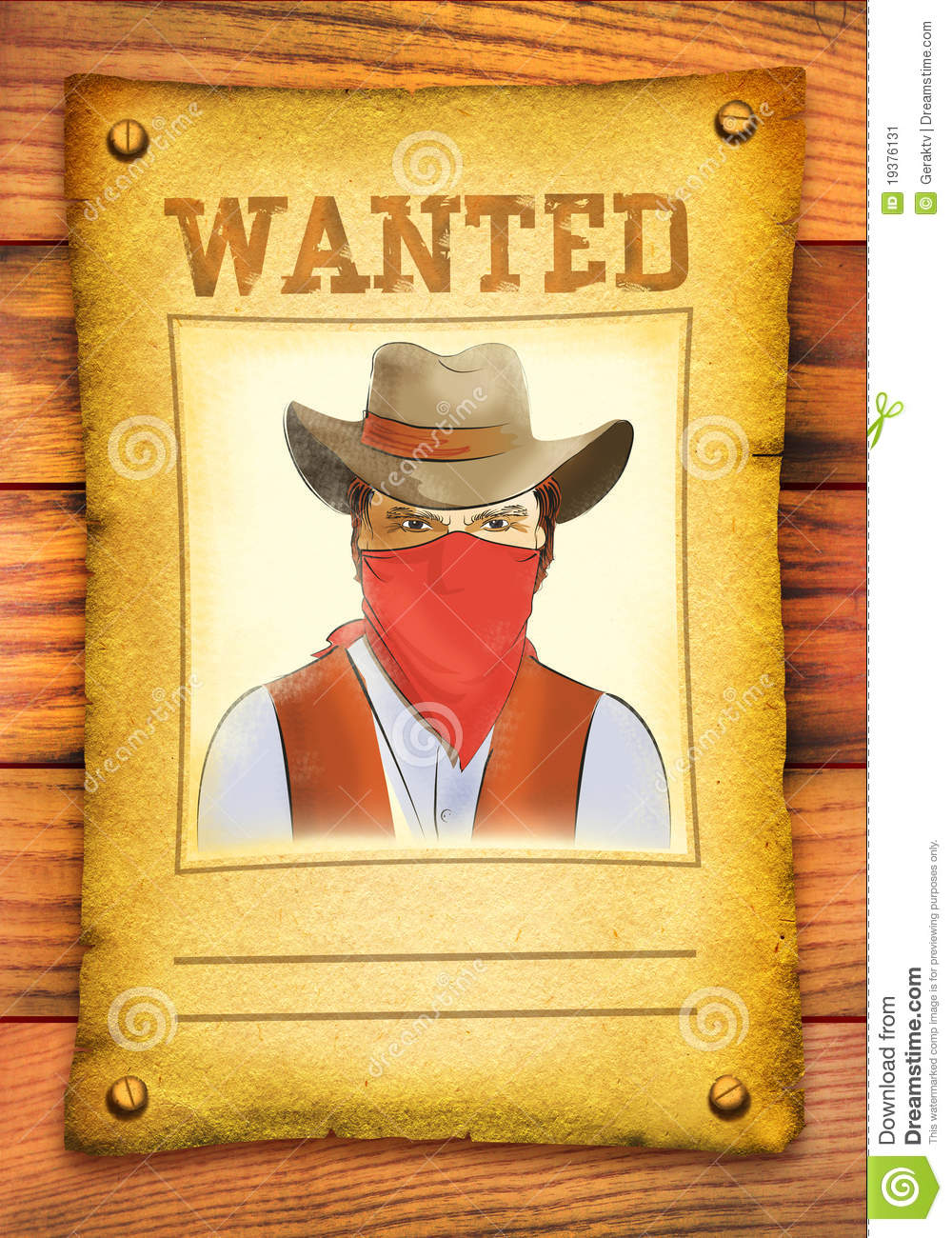 Wanted Poster With Bandit Face .-Wanted poster with bandit face .-19