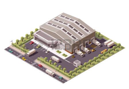 Vector Isometric Warehouse Building Icon-Vector isometric warehouse building icon-9
