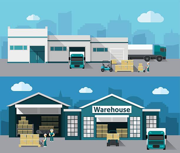 Warehouse Flat Banner Set Vector Art Ill-Warehouse Flat Banner Set vector art illustration-18