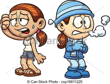 ... Warm and cold girls clip art. Vector cartoon illustration.