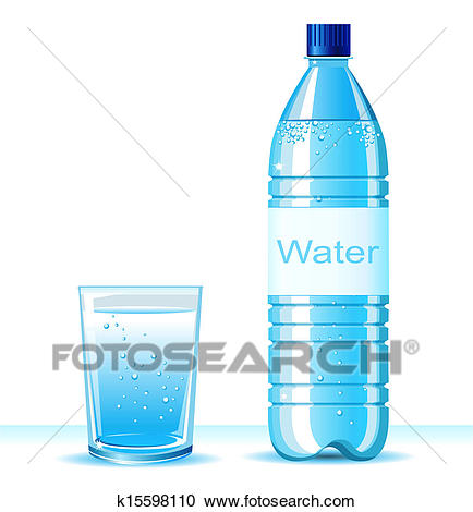 Bottle of clean water and glass on white-Bottle of clean water and glass on white background .Vector illustration  for text-16