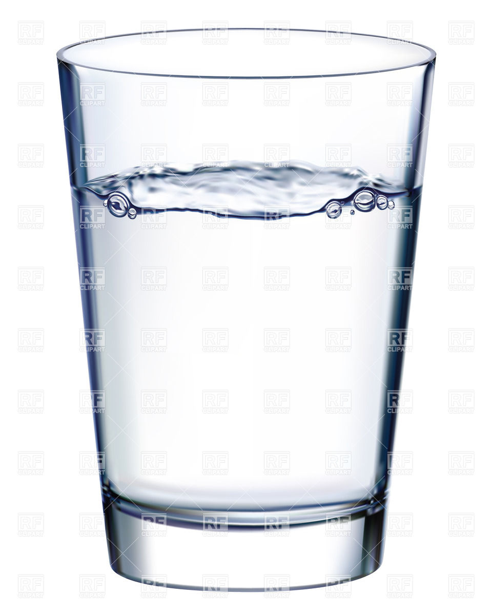 Glass with water isolated n white Royalty Free Vector Clip Art