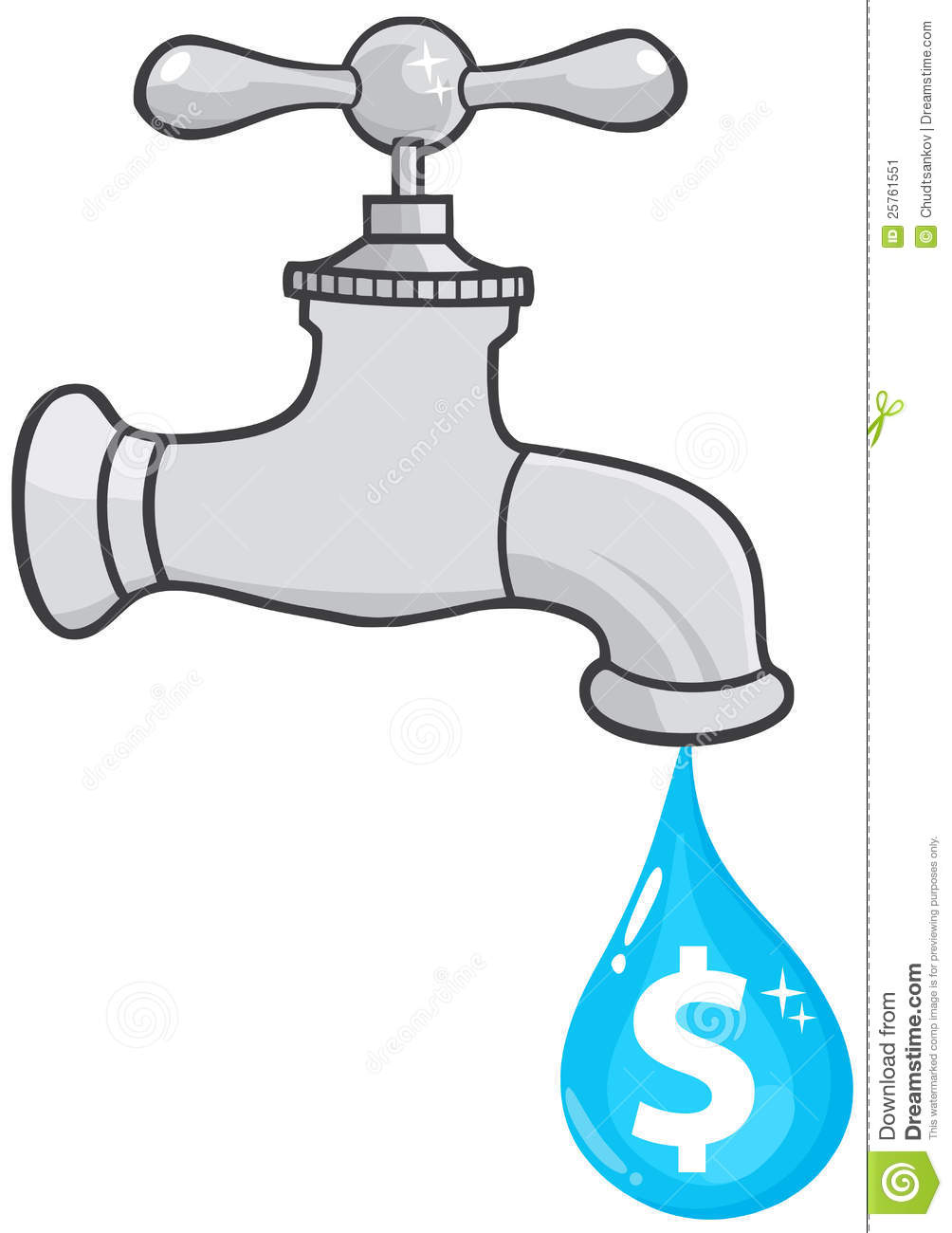 Water Faucet With Dollar Dripping Stock Image Image 25761551