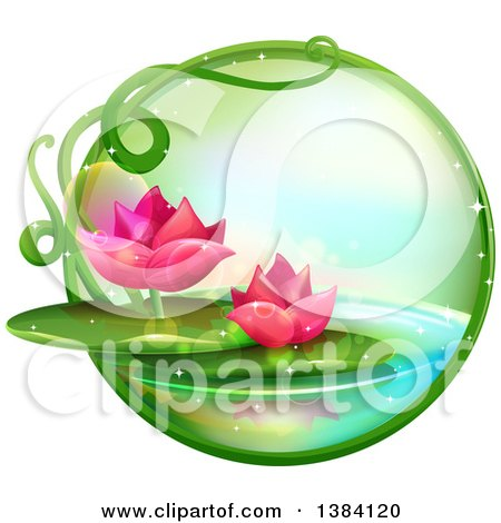 Green Magical Orb With Pink Water Lily Lotus Flowers On A Pond by BNP  Design Studio