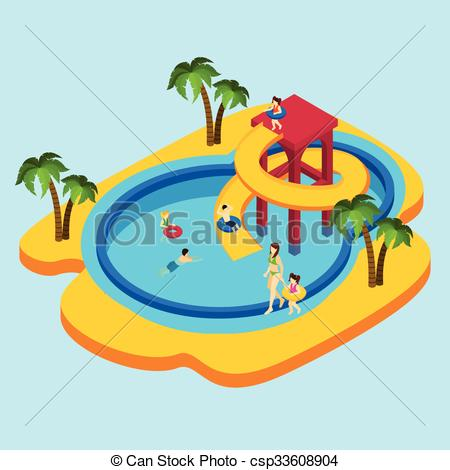 ... Water Park Illustration - Water park with children and.