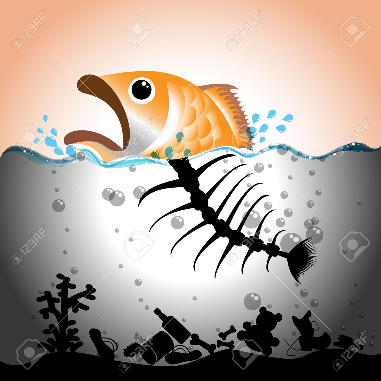water pollution: Illustration of fish and fish bone in in polluted water, Water  pollution