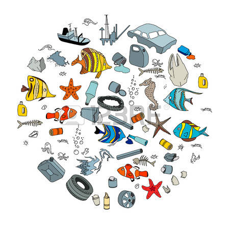 water pollution: Water pollution in the ocean. Garbage and waste. Eco  concept.