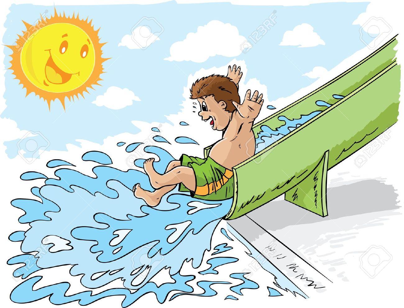 water slide: Boy on waterslide .-water slide: Boy on waterslide .-10