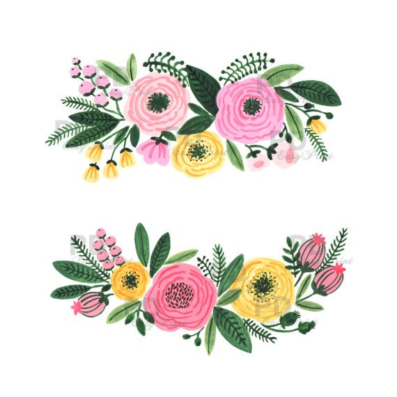 Watercolor Clipart, Hand painted Watercolor Flowers, Hand Painted Clip Art, Digital Flowers,