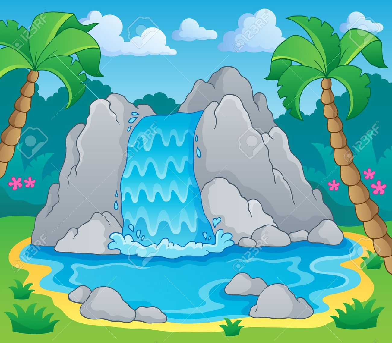 waterfall: Image with . - Waterfall Clipart