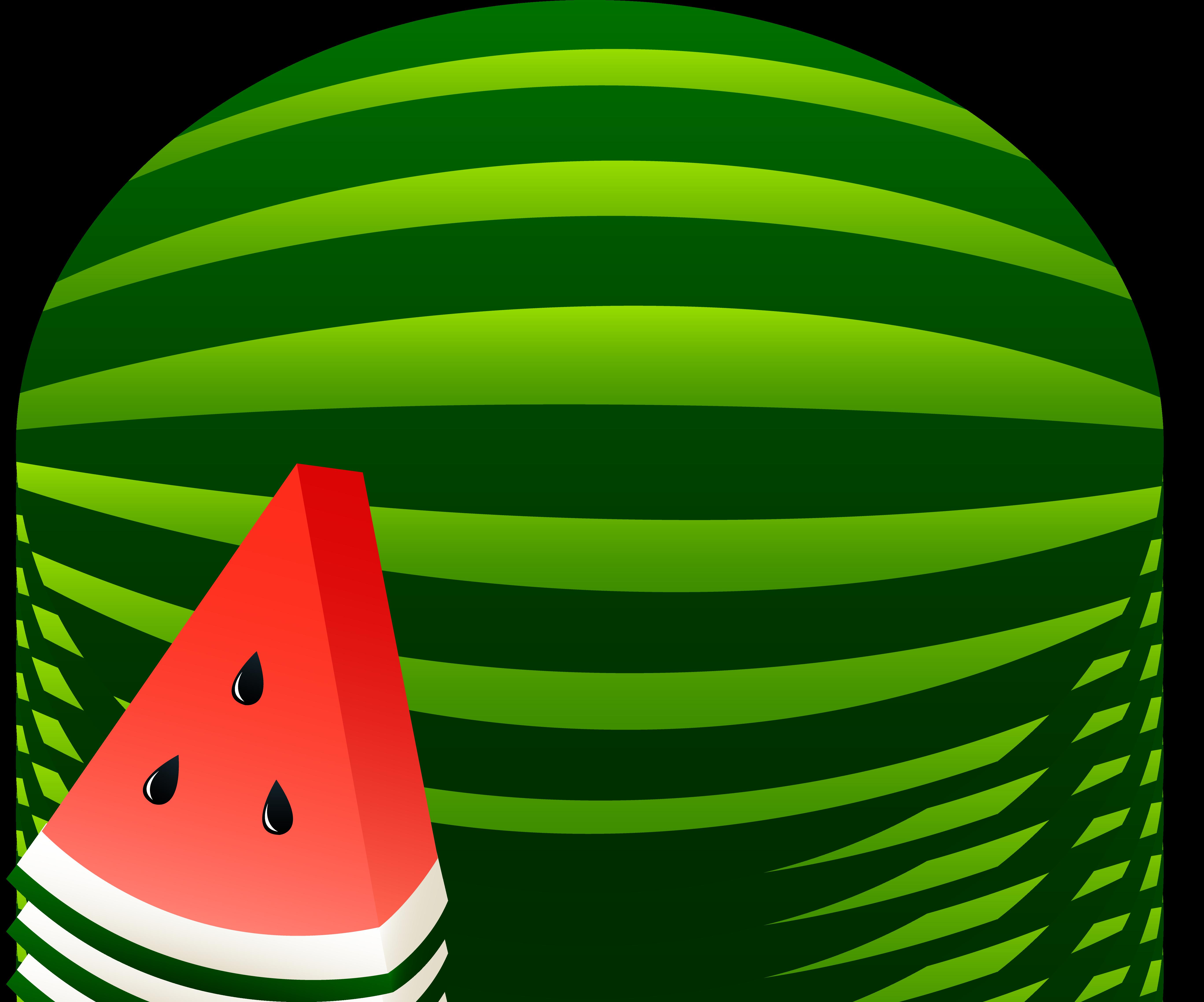Watermelon Whole and Slice - Free Clip Art