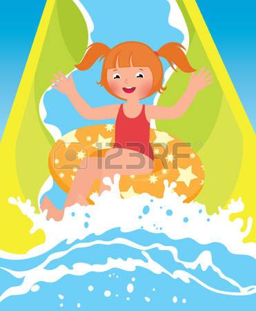 Waterpark: Children Girl Playing In Wate-waterpark: Children girl playing in water park in summer-18