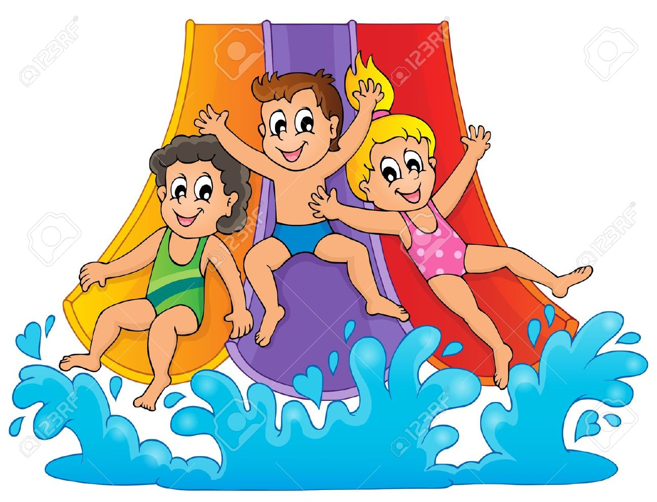 waterpark: Image with aqua park theme Illustration