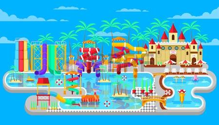 waterpark: Vector illustration of exteri-waterpark: Vector illustration of exterior water park, outdoor water park, water park with-19