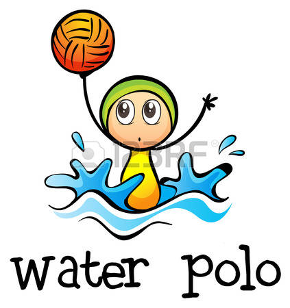 waterpolo: Illustration of a stickman playing water polo on a white background Illustration