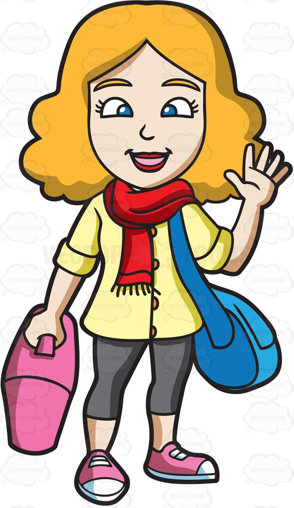 Waving Cartoon Kid Clip Art. A woman waving goodbye before .