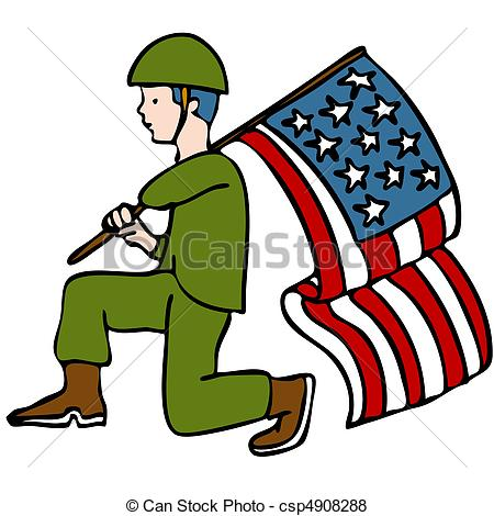 Wavy American Flag Clip Artby vectomart54/923; Veteran Soldier - An image of a veteran soldier holding an.