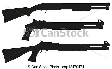 Weapons Silhouette Collection - Firearms Vector Clip Artby Snap2Art12/2,120; shotgun black silhouette vector illustration isolated on... ...