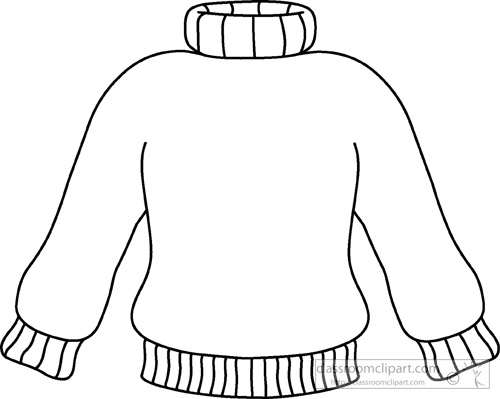 Weather Winter Turtle Neck Sweater Outline 01 Classroom Clipart