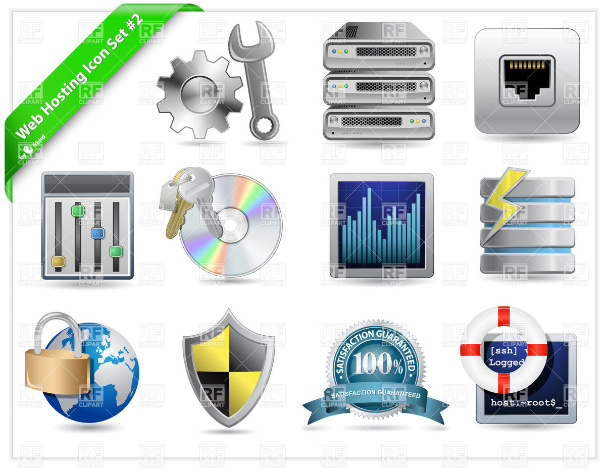 Web Hosting and datacenter Icons Royalty Free Vector Clip Art