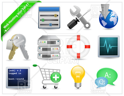 Web Hosting Icon Set, 6041, download royalty-free vector vector image ClipartLook.com