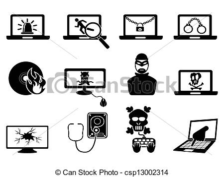 computer security and Cyber Thift icons - csp13002314