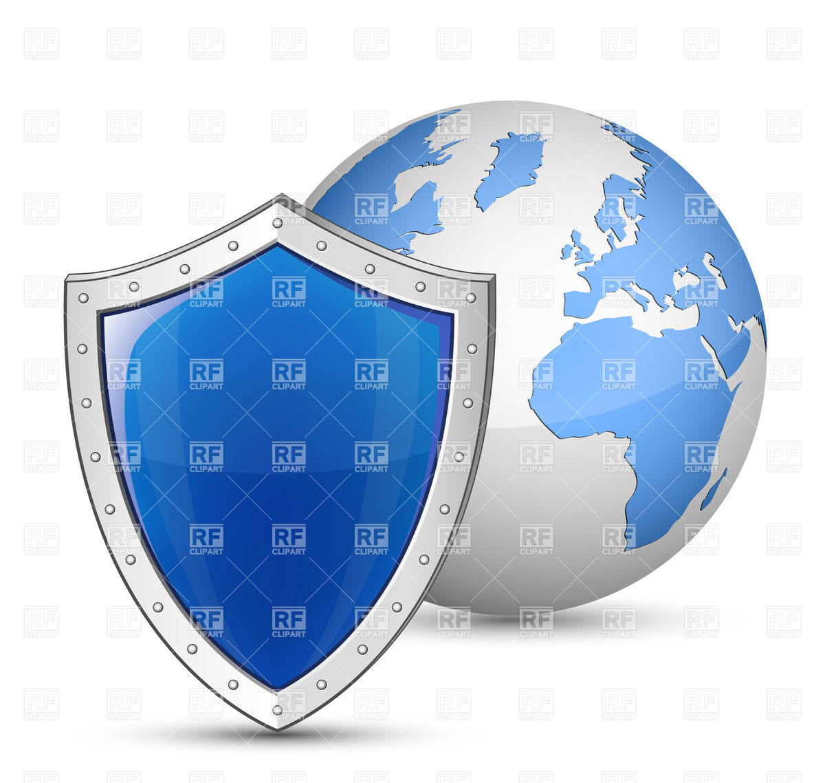 Globe and shield - Safety and security concept Royalty Free Vector Clip Art