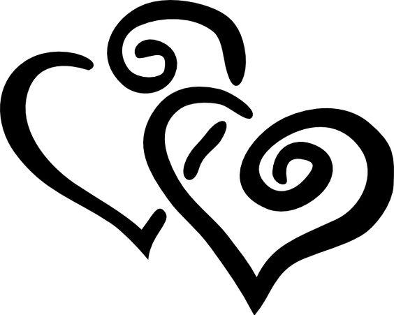 Wedding Bells Pictures Clip Art | Black -wedding bells Pictures Clip Art | Black Outline Joined Hearts clip art - vector clip art-15