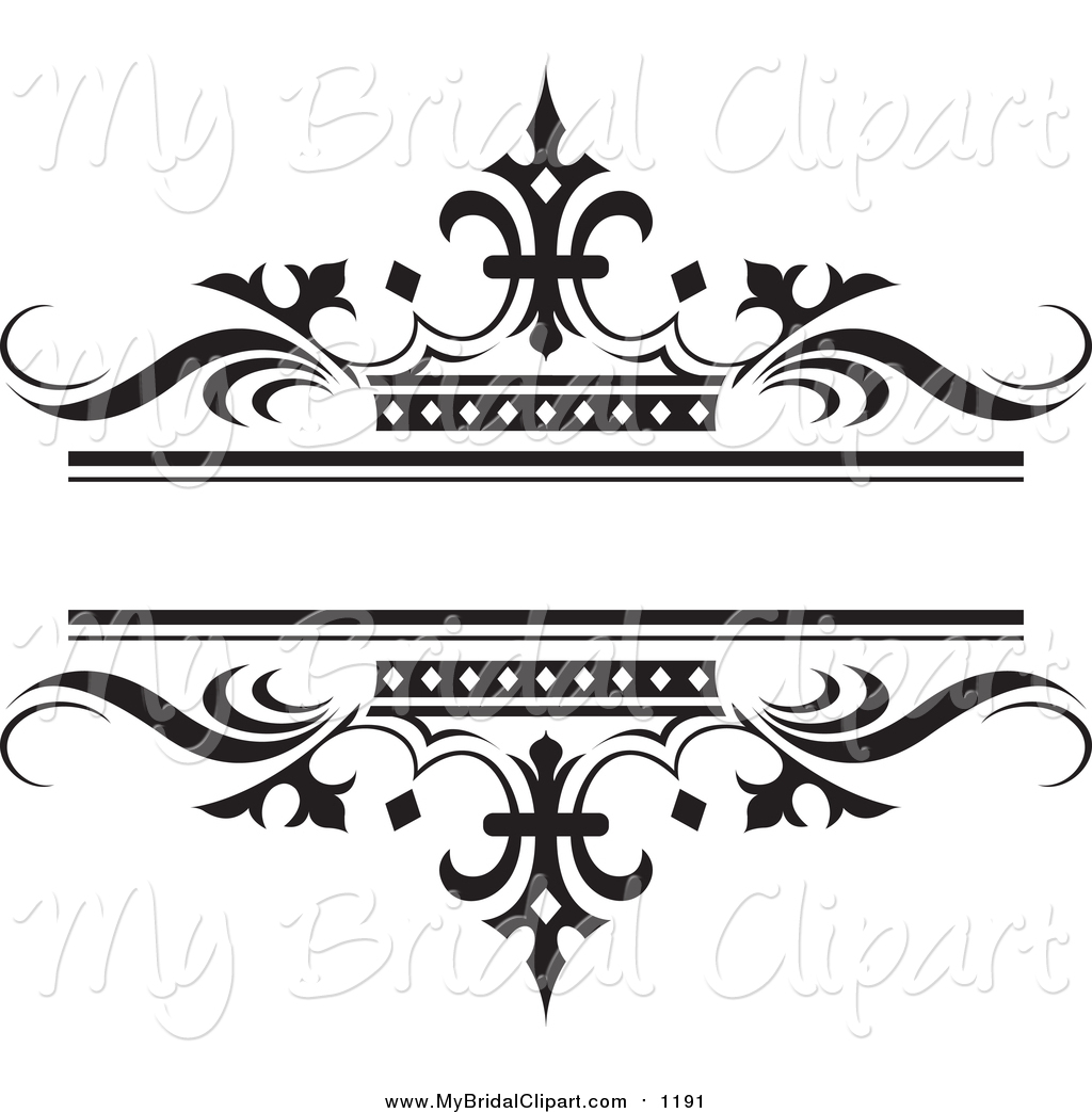 Bridal Clipart of a Ornate Black Wave and Crown Wedding Design Element