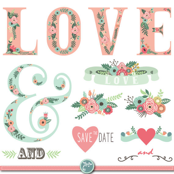 Wedding Clipart Pack WEDDING FLORA Digit-Wedding Clipart pack WEDDING FLORA digital clip by YenzArtHaut-17