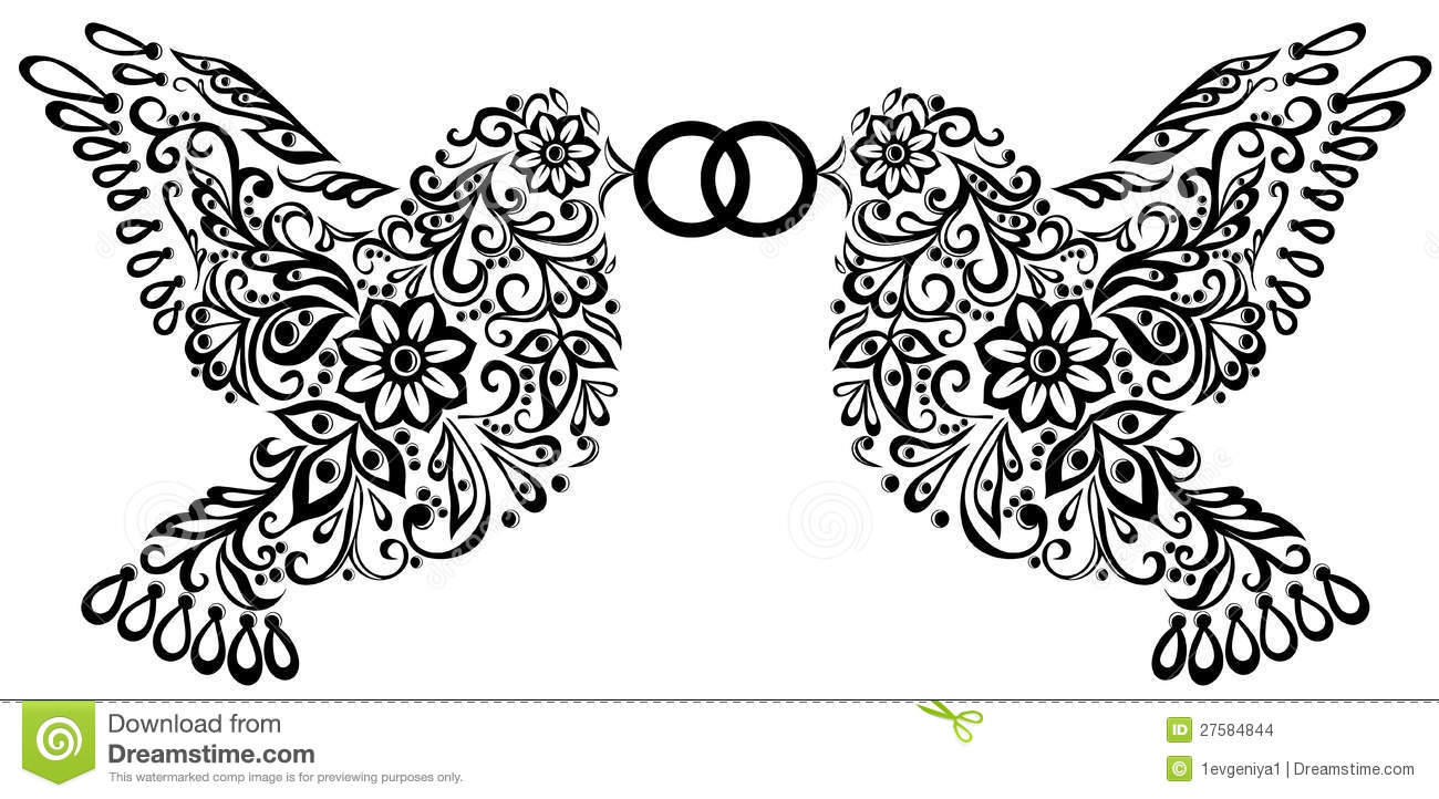Wedding Clipart Silhouette Of Two Birds Stock Images Image