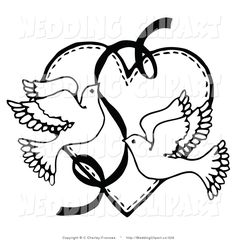 Vector Marriage Clipart of Wedding Black and White Doves with a Ribbon over  a Heart by C Charley-Franzwa -