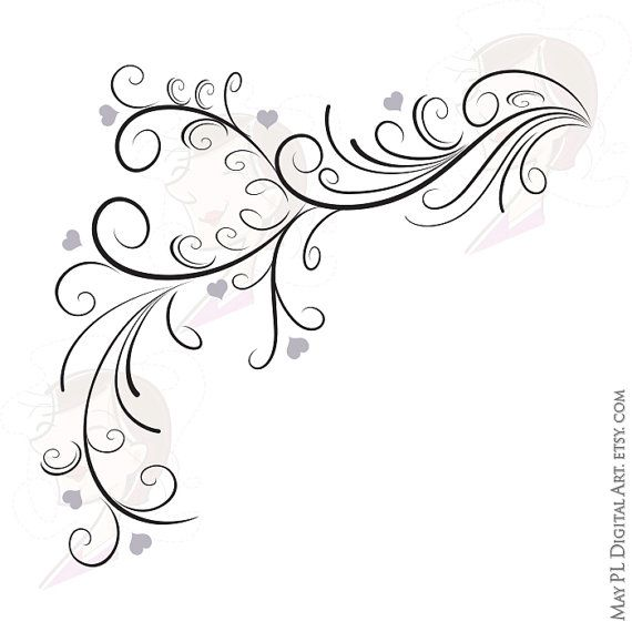 Wedding Clipart Vintage Elegant Flourish Curly Borders Swirl Bridal