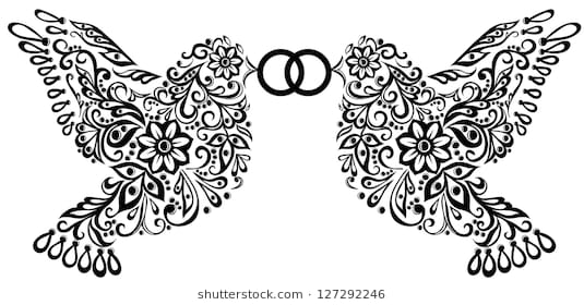 wedding clipart, silhouette of two birds that keep the ring. A copy of the