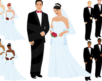 Wedding Digital Clipart-Bride - Groom Clipart