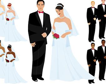 Wedding Digital Clipart-Bride and Groom--Wedding Digital Clipart-Bride and Groom-Printable Wedding Invitation Graphics-Digital Scrapbooking-Wedding Dress-Instant Download Clip Art-10