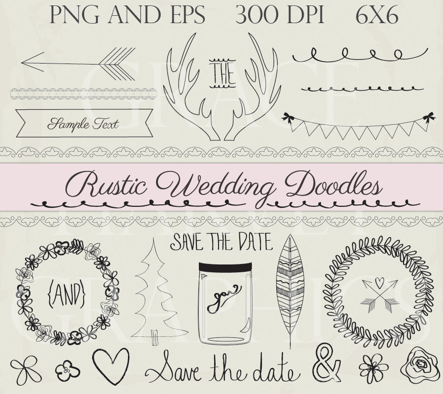Wedding Doodle ClipArt Rustic Clip Art Instant Download Digital Illustrations EPS PNG