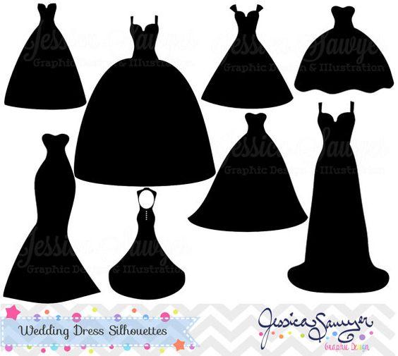 Wedding Dress Clipart, Silhouette Clipar-Wedding dress clipart, silhouette clipart, for greeting cards, announcements, scrapbooking-14