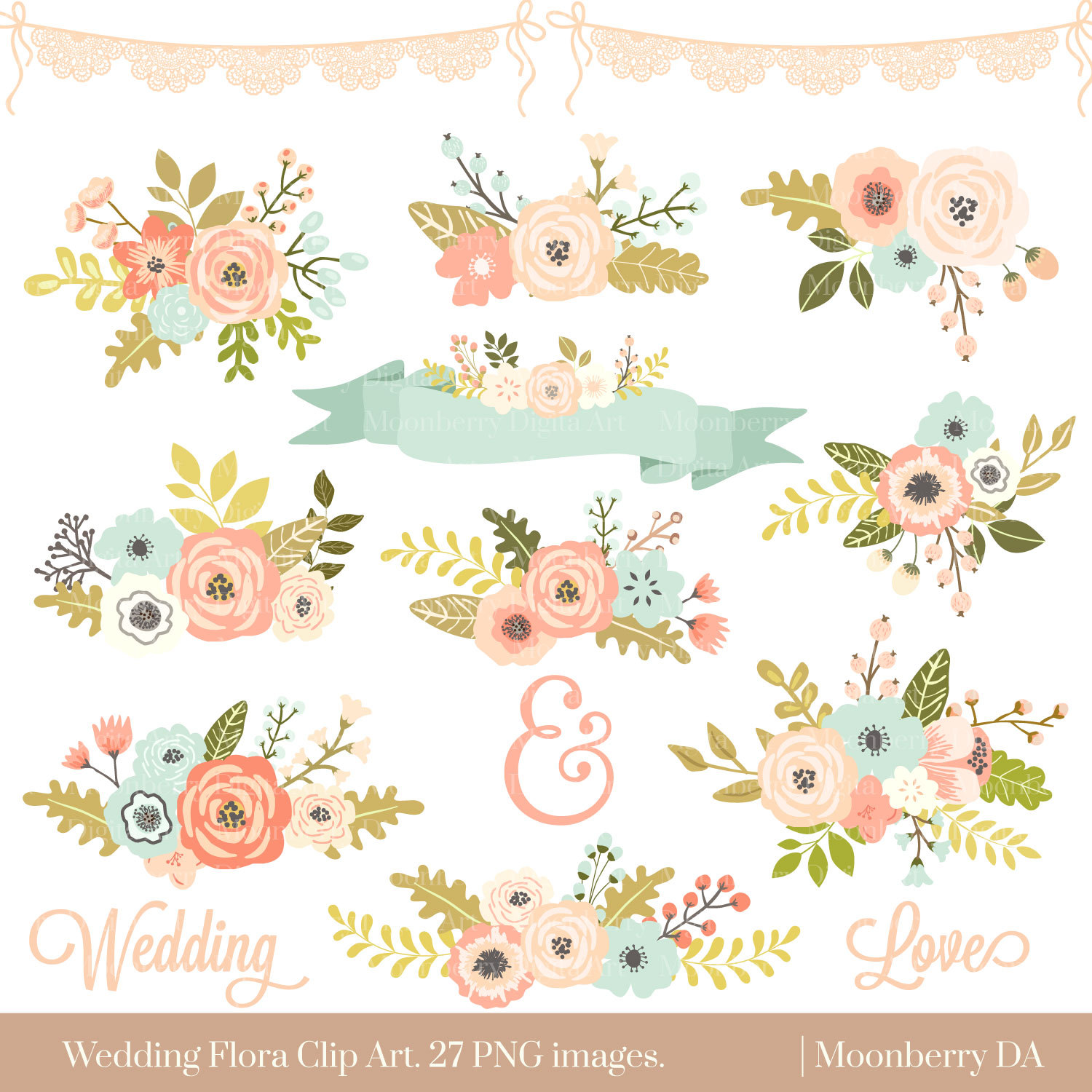 Wedding Floral Clipart u0026quot; FLORAL CLIPART u0026quot; Flowers Clipart. Floral Posies Clip Art. Wedding Clipart. Wedding Invitations. Commercial Use.