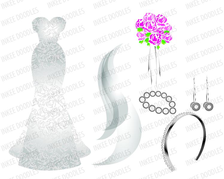 Wedding Gown, Earrings, Bridal Tiara, Brideu0027s Veil Flowers Clipart, total  of 16