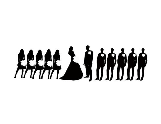 wedding party silhouette clip art | Silhouette Clip Art , Wedding Party Silhouette Template , Wedding