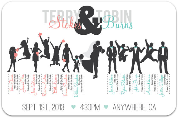 Wedding Party Silhouette Program Bridal Party Silhouettes