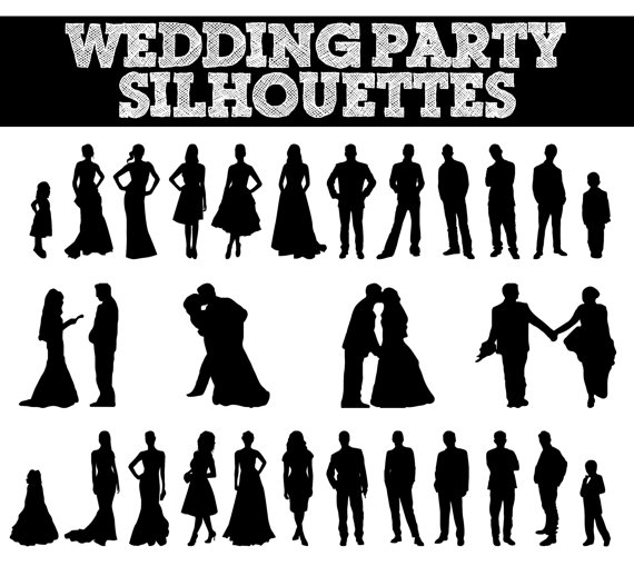 Wedding Party Silhouettes // Wedding, Br-Wedding Party Silhouettes // Wedding, Bride, Bridesmaid, Groomsman, Flowergirl Silhouette // Love Clipart // Bridal Silhouettes-4