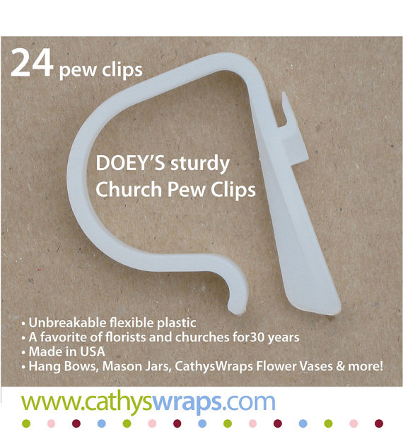 Wedding Pew Clips - Wedding ceremony church pew decoration hooks hang bows, swags, flowers