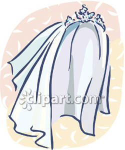 Wedding Veil With A Tiara Royalty Free Clipart Picture