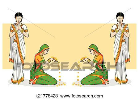Clip Art - Indian Woman in welcome gesture. Fotosearch - Search Clipart,  Illustration Posters