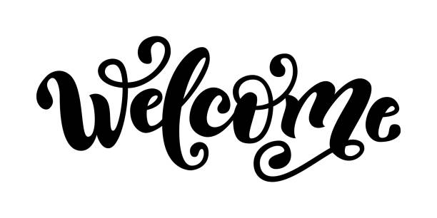 Welcome. Hand Lettering word. Handwritte-Welcome. Hand Lettering word. Handwritten modern brush typography sign.  Black and white.-6