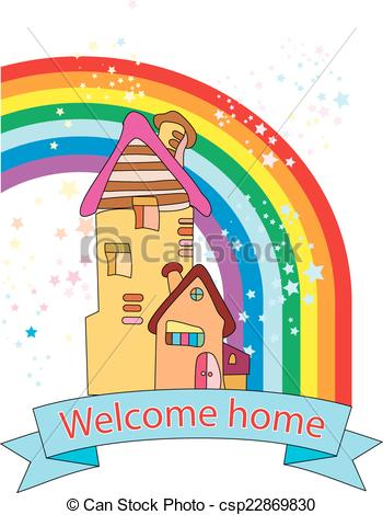 Welcome home. Greeting card.